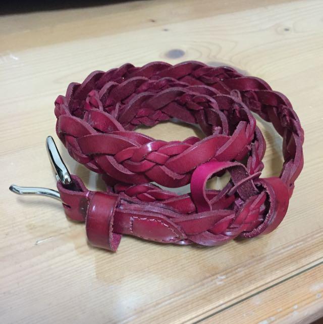 粉桃真皮細編織腰帶