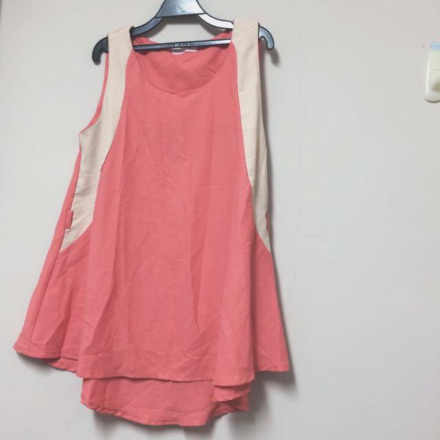 東京著衣粉橘杏色無袖洋裝