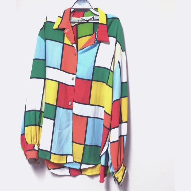 古著雪紡幾何圖形鮮豔襯衫