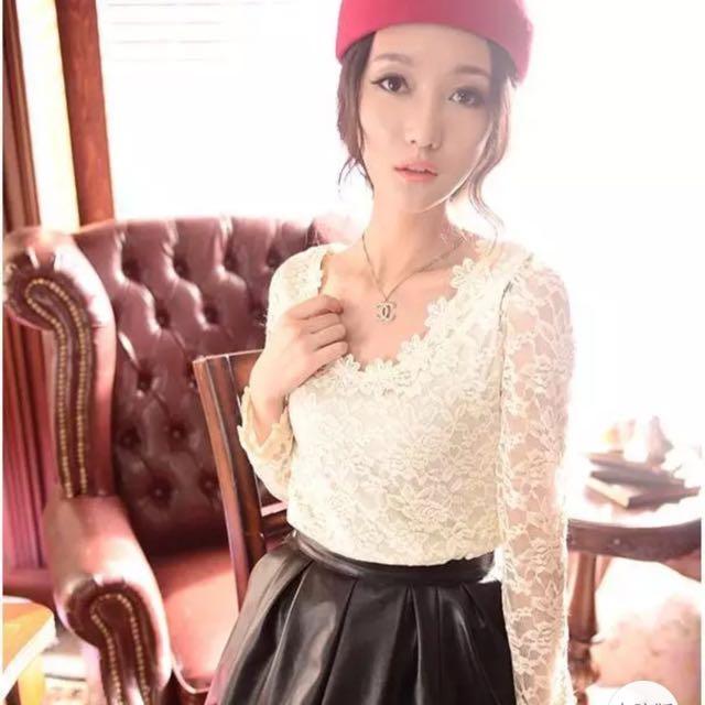 韓版 蕾絲雕花長袖白色上衣
