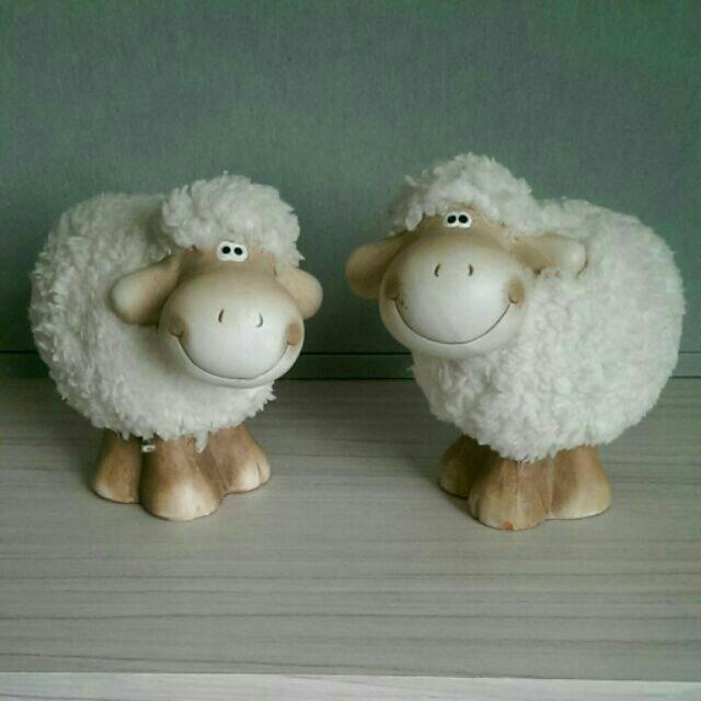 陶瓷娃娃 可愛綿羊 笑笑羊 跳跳羊 園藝佈置