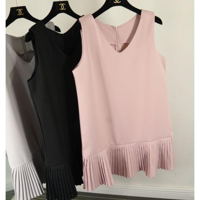 (全新)韓版 V領 厚西裝料 無袖背心 百褶裙 粉色/均碼