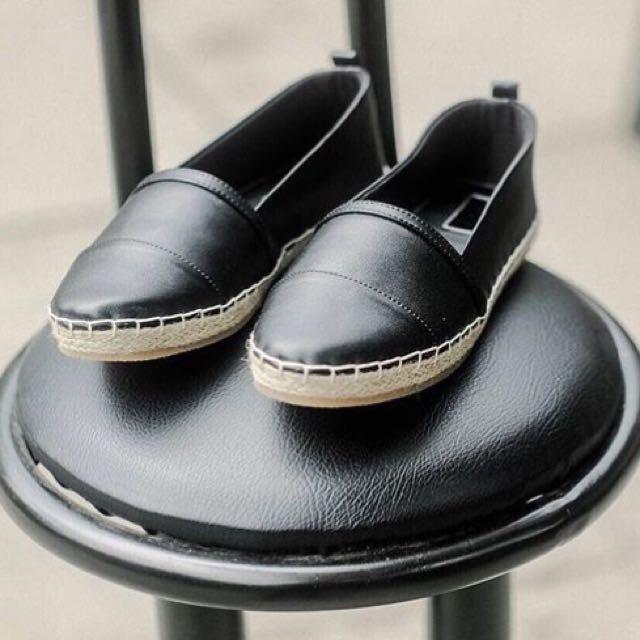 Black Esparadilles Flat Shoes