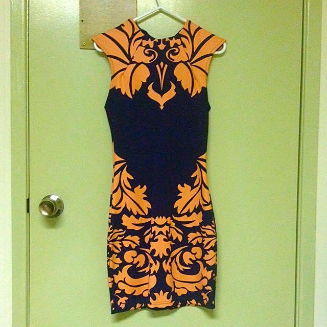 Blue And Orange Slim Fit High Neck Dress
