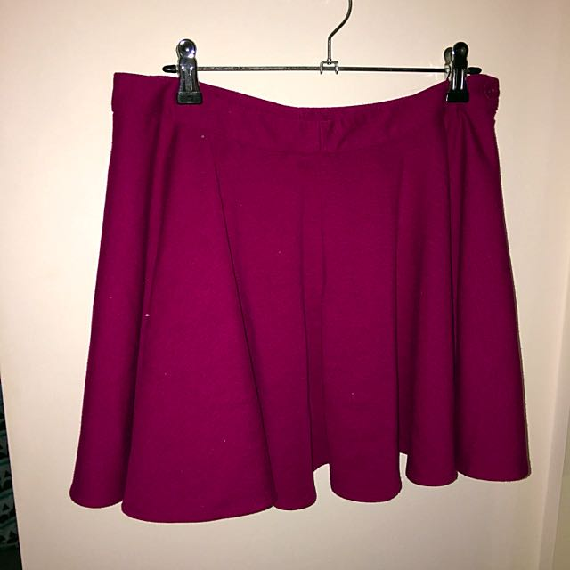 Burgundy High Waisted Skirt