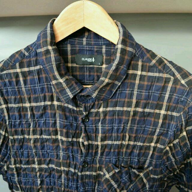 Claude Maus Stretch Check Shirt Size L