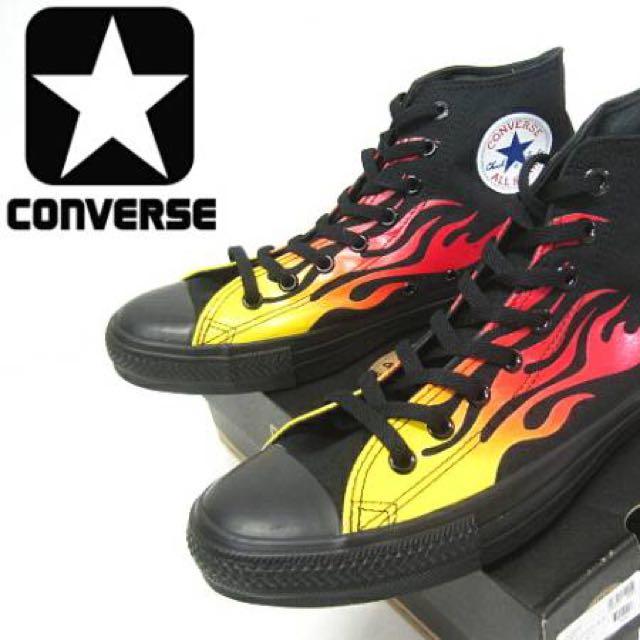 9.5 28cm Converse All Star Hi 黑色黑底 火焰帆布鞋