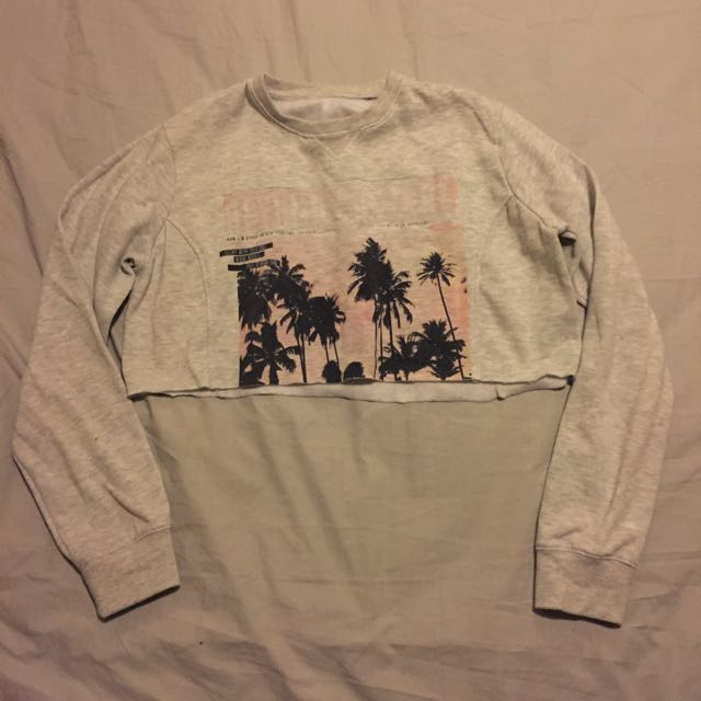 Cropped Palm Tree Pullover Size M