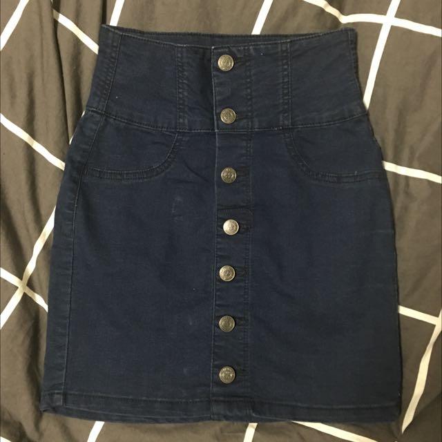 Dark-wash Blue Denim Skirt