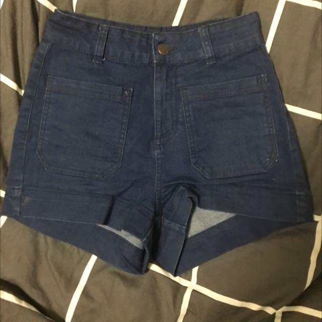Dark-wash High waisted Denim Shorts