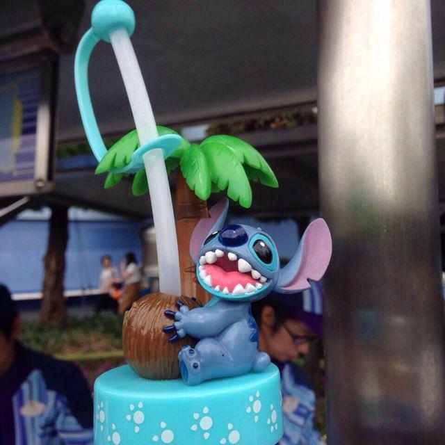 日本東京迪士尼樂園disney史迪奇可愛水壺吸管/瓶蓋