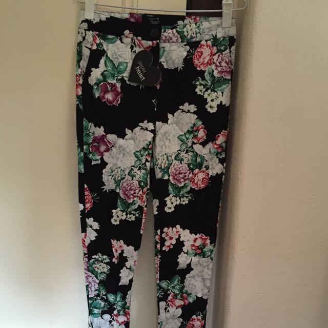 Flower Print Skinny Pants