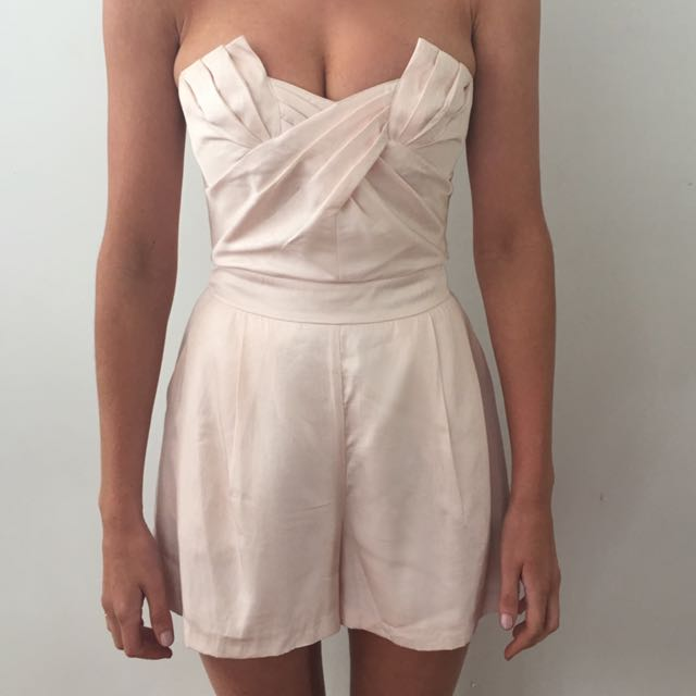 FOREVER NEW Pink Pastel Summer Strapless Jumpsuit Size 6