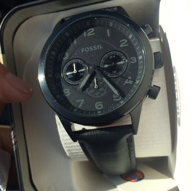 Fossil Leather Watch Black