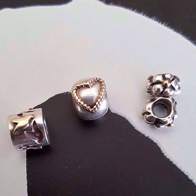 Genuine Pandora Two Tones Charm Clip & Spacers Tt Silver & Gold