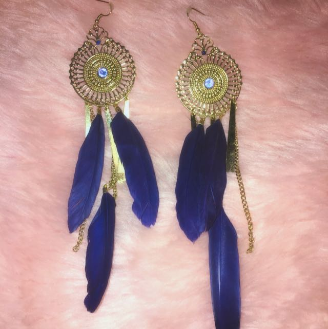 Gold Navy Feather Earrings