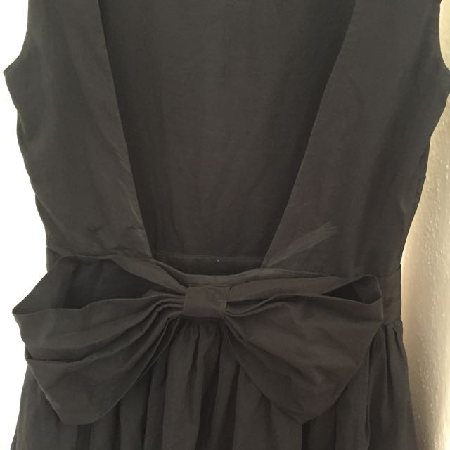 Low Back Black Dress With Bow And Lace Detail