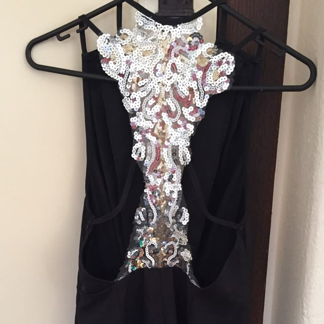 Low Cut Playsuit With Sequinned Back