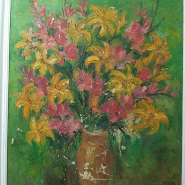 Lukisan Bunga Maria Tjui (1995)  70x90 cm