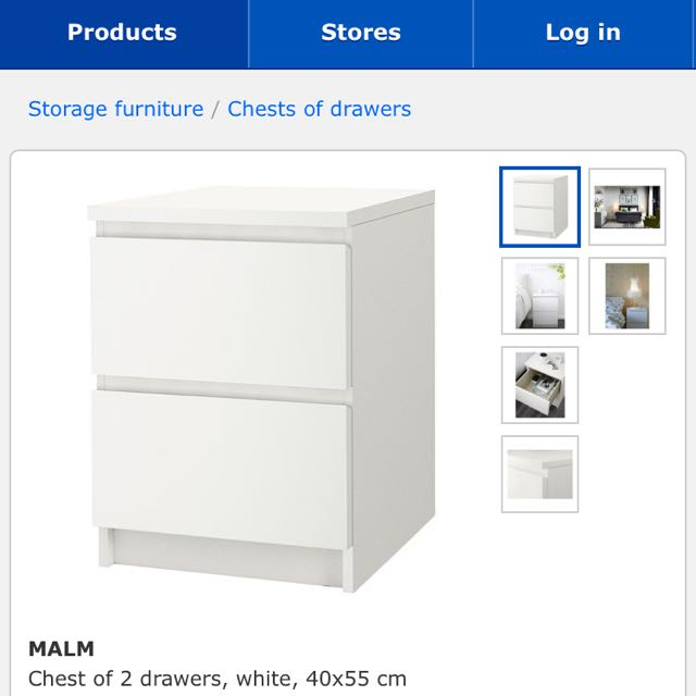 MALM Ikea Chest Of 2 Drawers