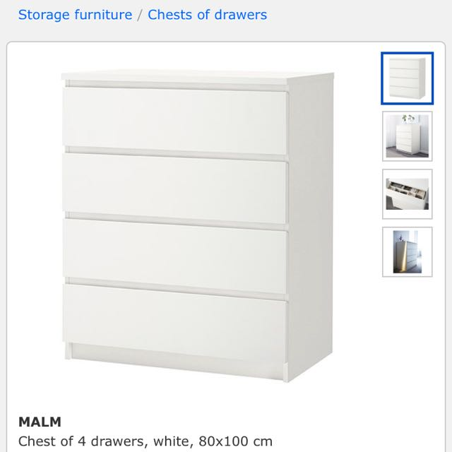(Reserved) MALM Ikea Chest Of 4 Drawers