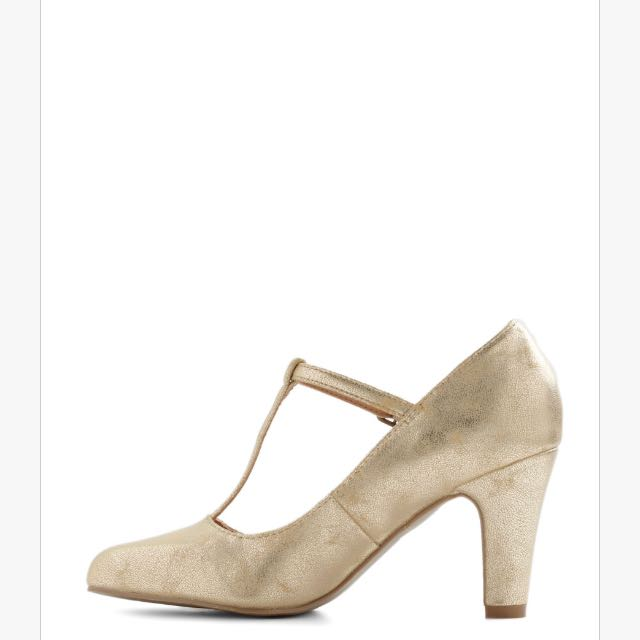 Modcloth Gold T-strap Heels