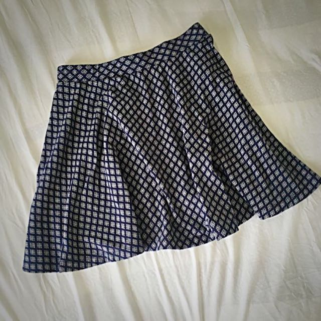 Navy Blue With White Maxwin Skater Skirt, Size Small