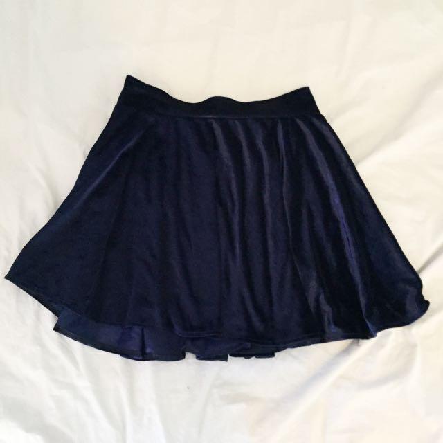 Navy Velvet Skirt Size 8