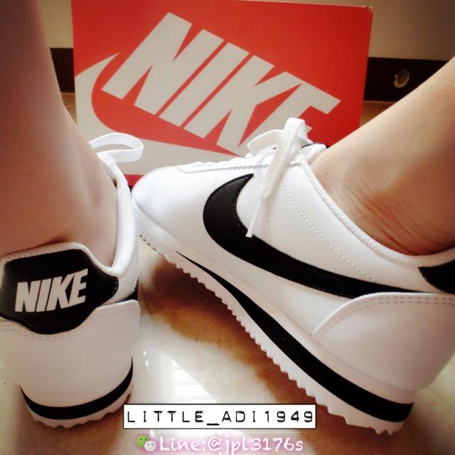 Nike Classic Cortez Leather  阿甘鞋 黑勾黑屁股 全新正品 23.5 / 24 cm