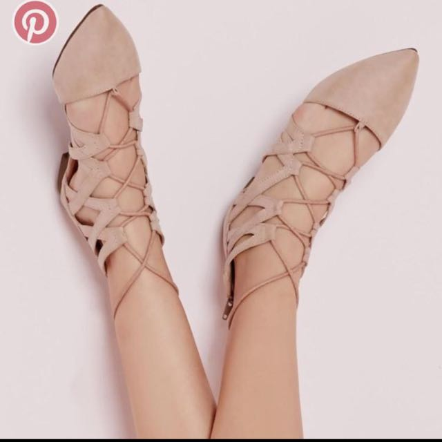Nude Faux Suede Pointed Lace Up Flat Shoes