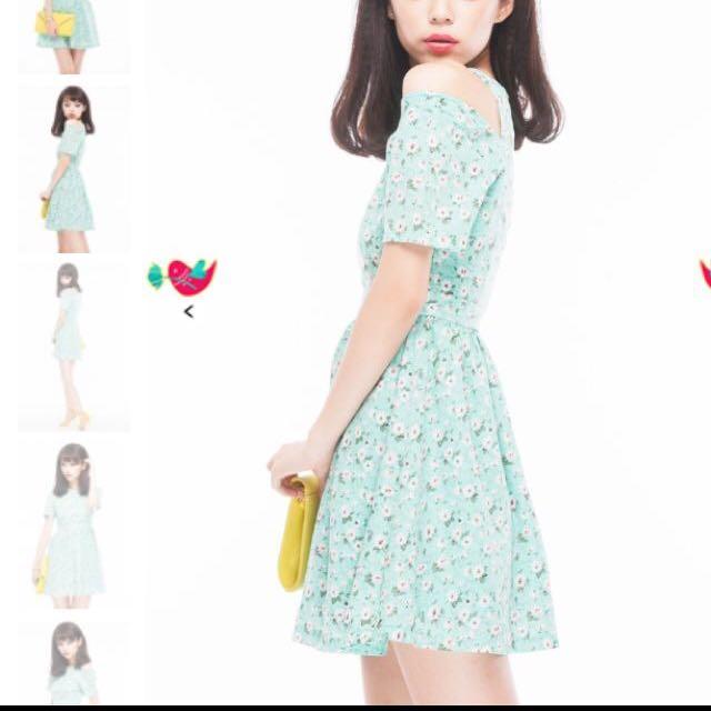 RAISSA SLIT SHOULDER FLORAL DRESS IN Mint