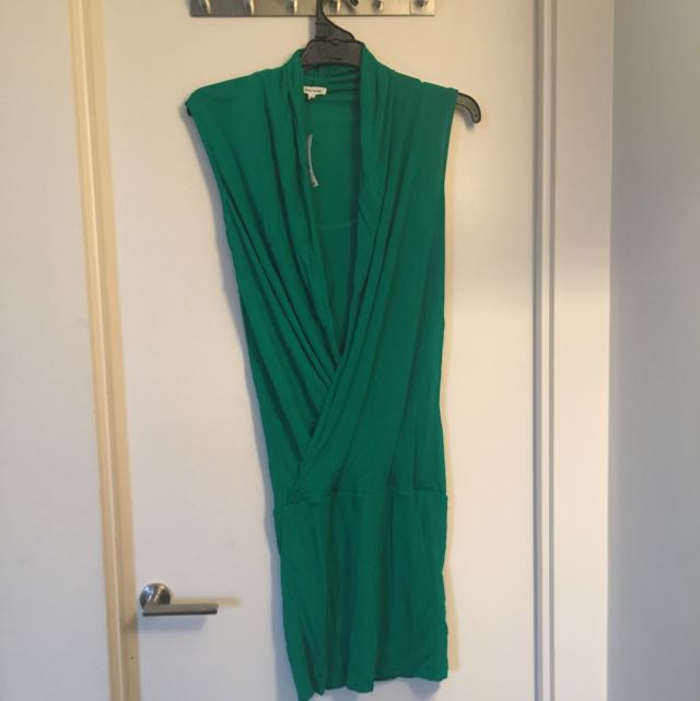 River Ireland Green Front Wrap Dress
