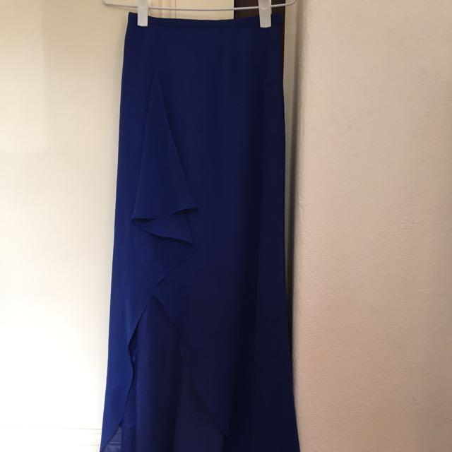 Royal Blue Silk/chiffon Skirt With Slit
