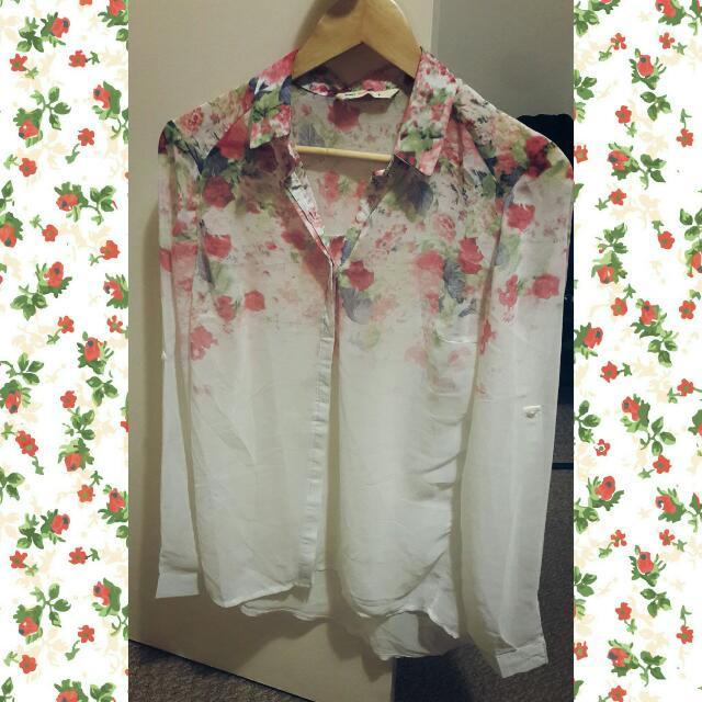 Sheer Floral Print Shirt