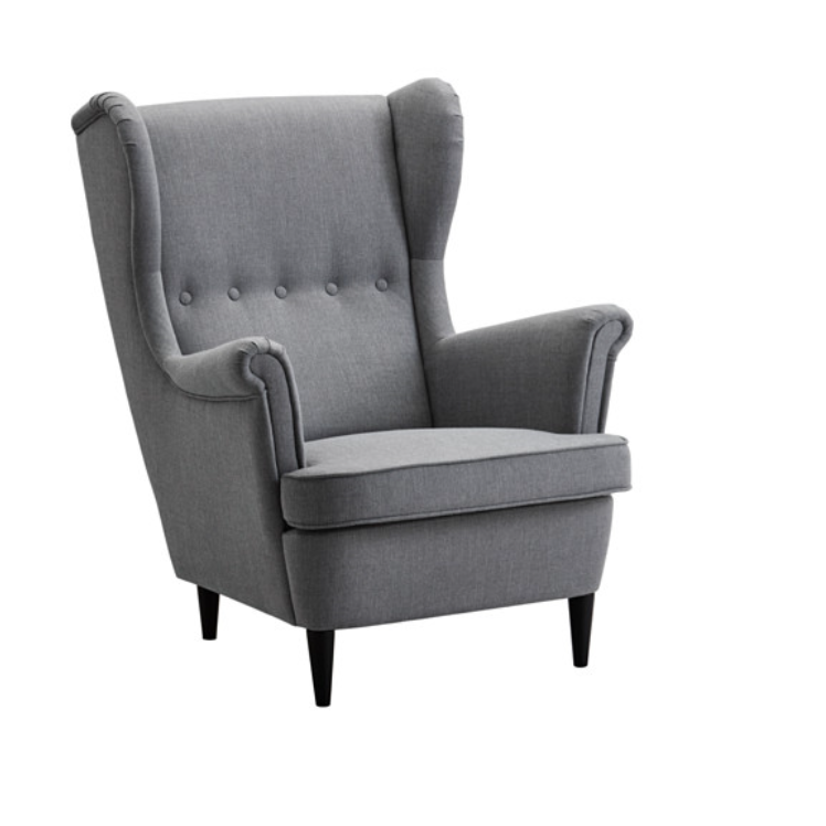 Ikea strandmon dary grey wing chair home furniture for Chaises scandinaves ikea