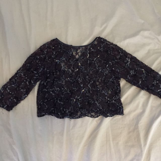 Topshop Navy Embroidered Top Size 4-6