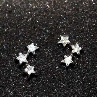復古三連五角星耳釘