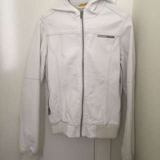 Authentic SuperDry Leather Jacket (white Size XS)