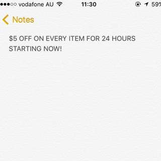$5 Off Everything Starting Now!!!!!