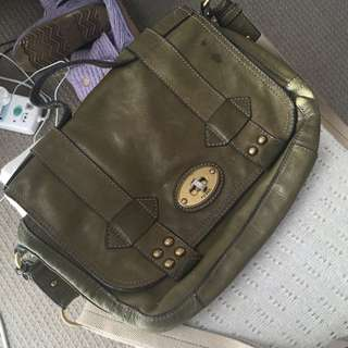 Fossil Khaki Leather Satchel