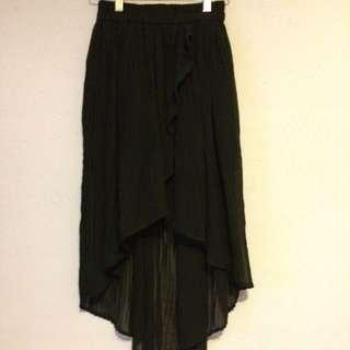 Kimchi Blue Black Chiffon High Low Skirt