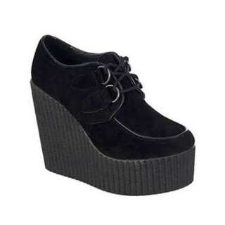 Suede Vegan Creeper Wedges