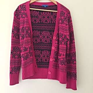Valley Girl Pink And Blue Knit Cardigan