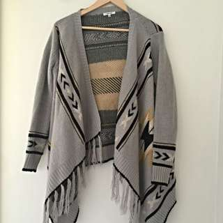Valley Girl Grey And Yellow Cardigan