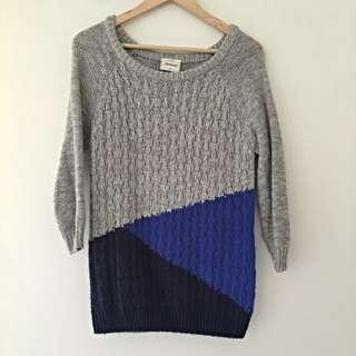 Jeans Wear Grey & Blue 3/4 Sleeve Knit