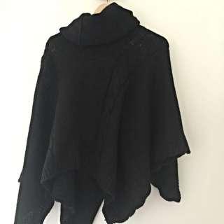 No Brand High Neck Black Knitted Poncho