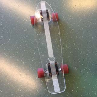 diamond cruzer transparent crushing penny skate board