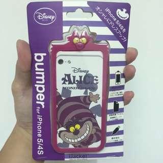 Disney 迪士尼 鋼琴貓 柴郡貓 矽膠造型手機邊框   IPHONE 5 5S SE 全新
