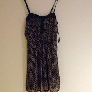 Black And Floral Chiffon Lined Dress Size 8