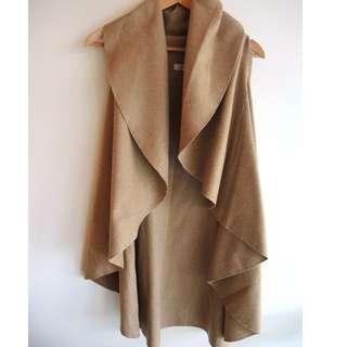 Tan Camel Waterfall Style Duster Vest